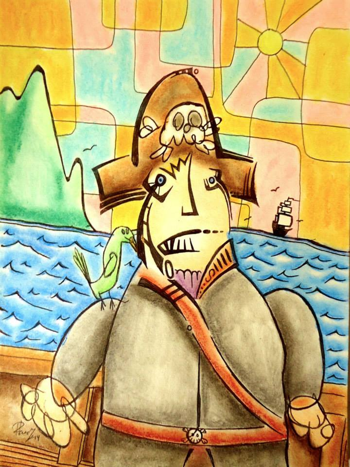 I'm a pirate - Ink and pastels