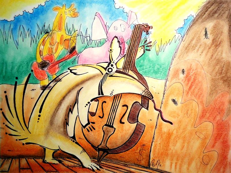 Jammin' - ink and pastels - SOLD