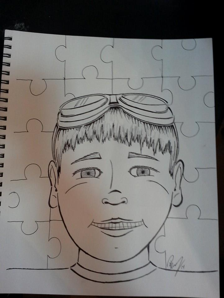 Autism boy - Ink - No longer avail. in B/W