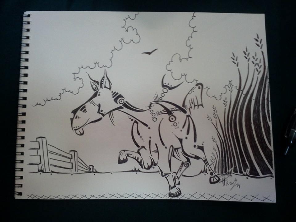 Drunken horse - ink