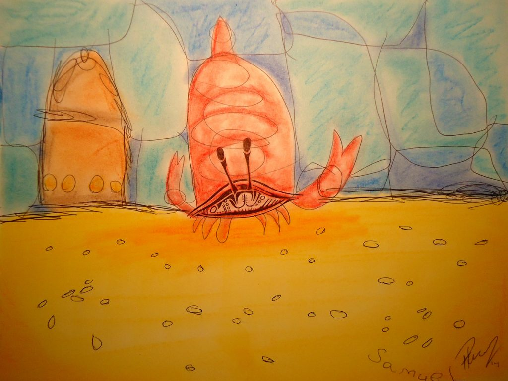 Mr. Crab - ink and pastels