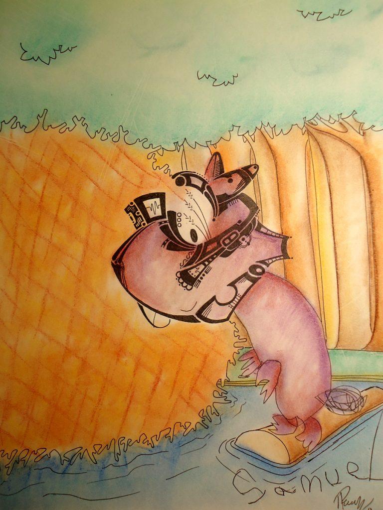 Mr Bricole- Ink & Pastels