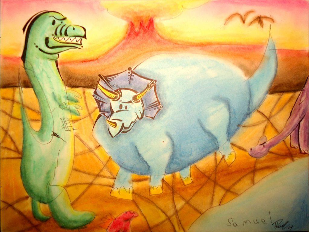 Paleonthology - Ink & pastels