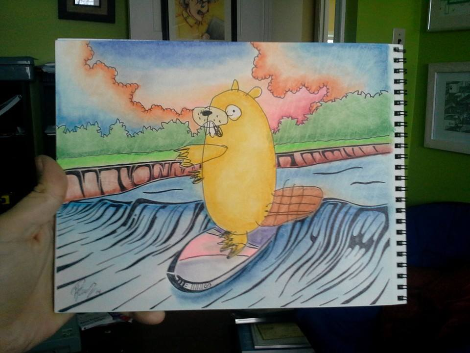 Surfin the bore - Ink & Pastels