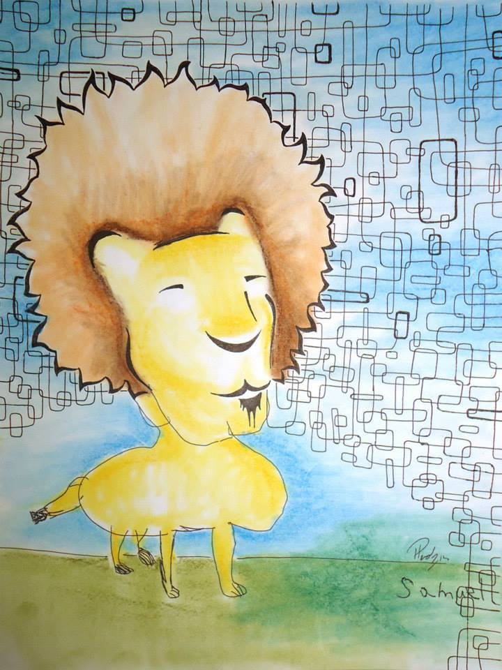 Safari - Ink & Pastel - Sold