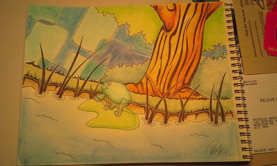 ribbit - Ink & Pastels