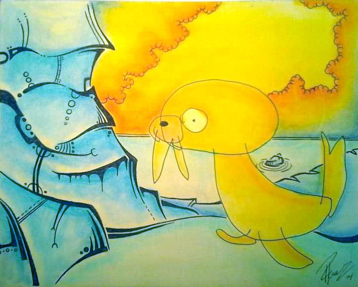 Antartica - Ink & Pastels - sold