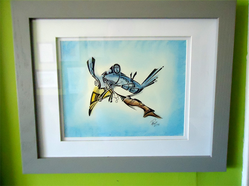 Blue Jay - Ink & pastels