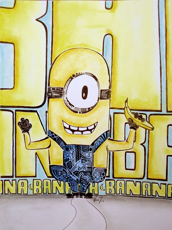 Minion - Ink & Pastel - Sold