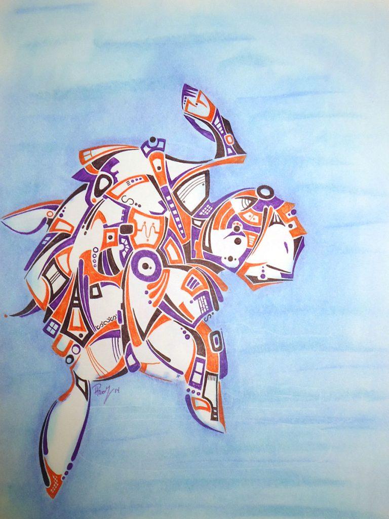 Sea turtle - Ink & Pastels