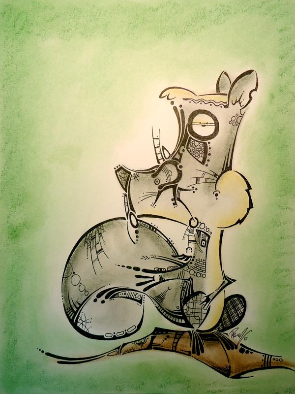 Squirrel 2 - Ink & Pastels