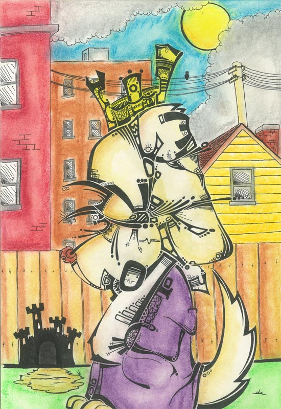Backyard King - Ink & Pastels - Sold