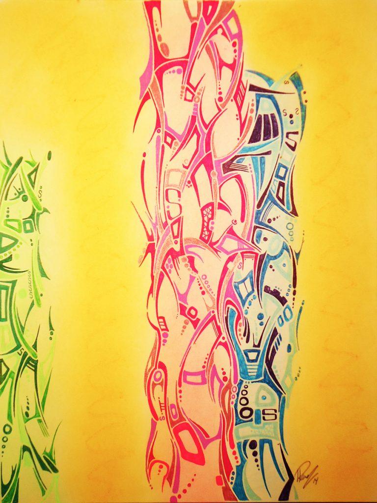 Columns - Ink & Pastels