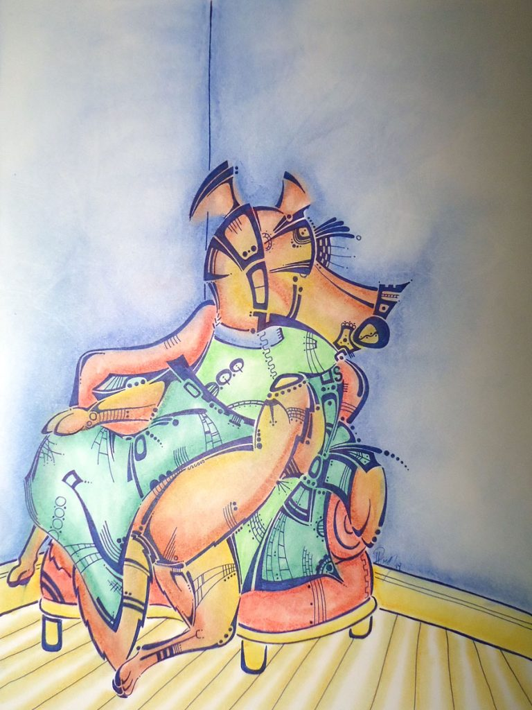 Lounge dog - Ink & Pastels