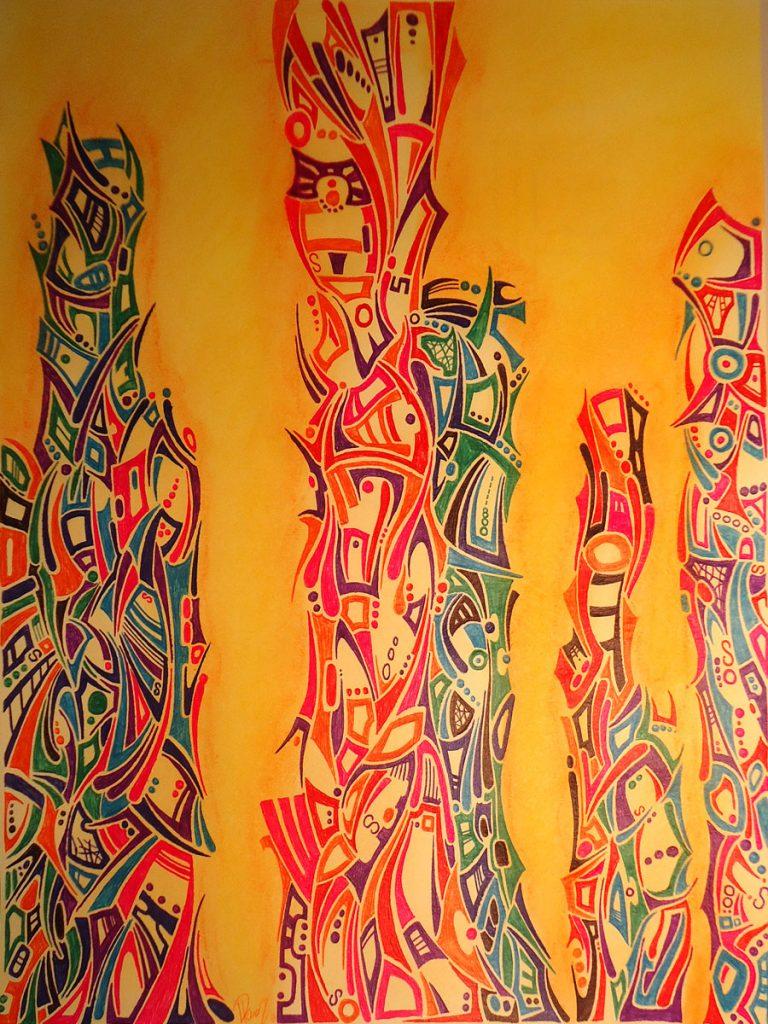 Stalagmite - Ink & Pastels