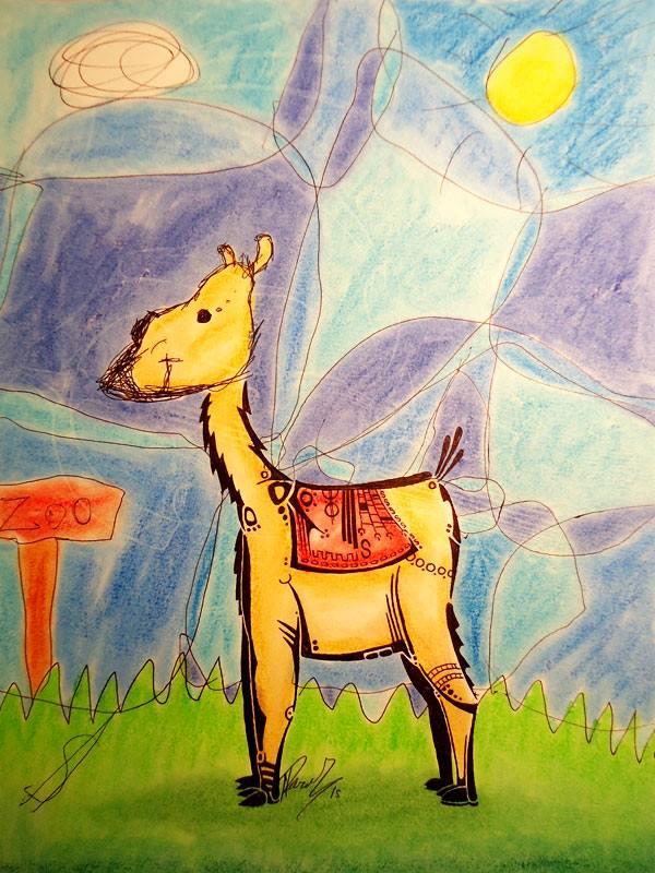 Llama - Ink and pastels