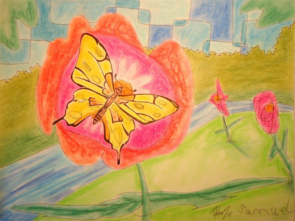 Flutterby! - Ink & Pastels - Sold