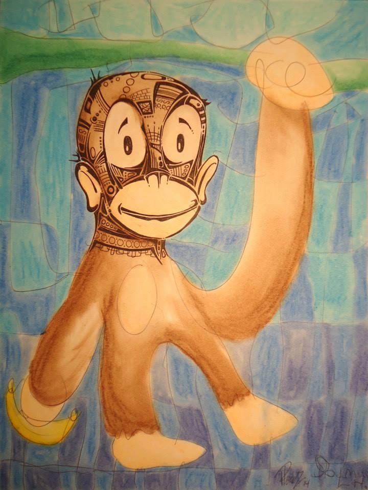 Monkey - Ink & pastels