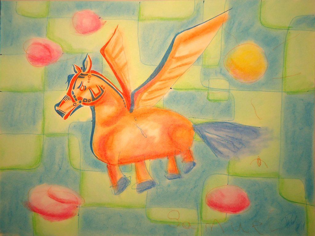 Pegasus - ink & Pastel