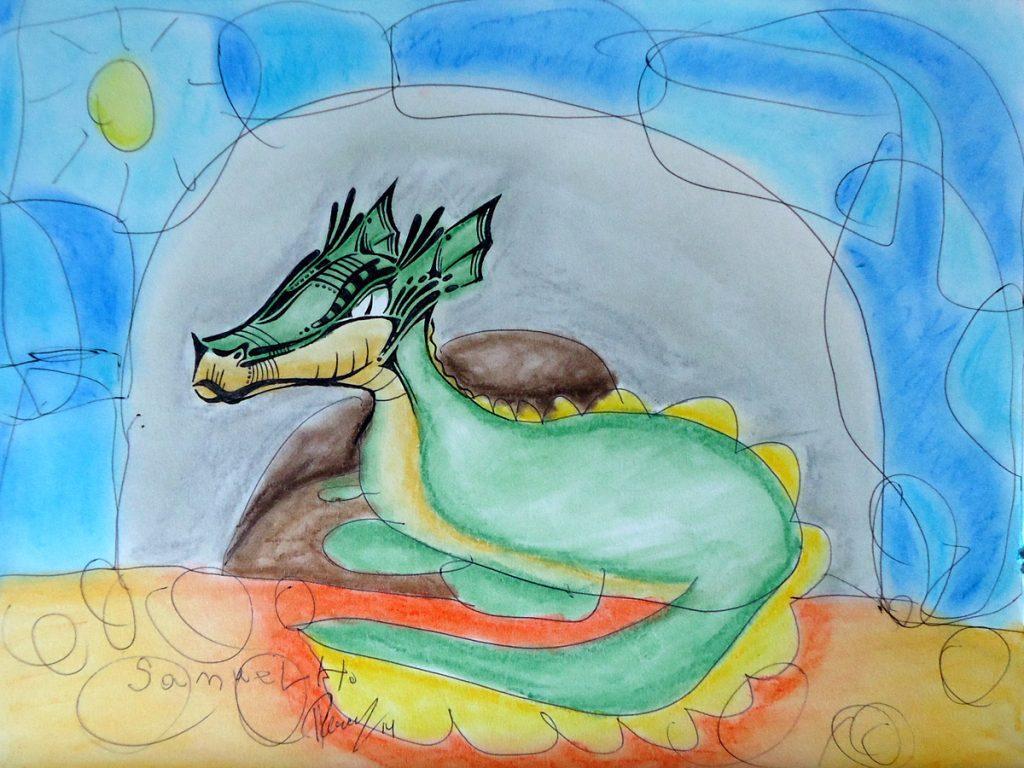 Resting Dragon - Ink & Pastels