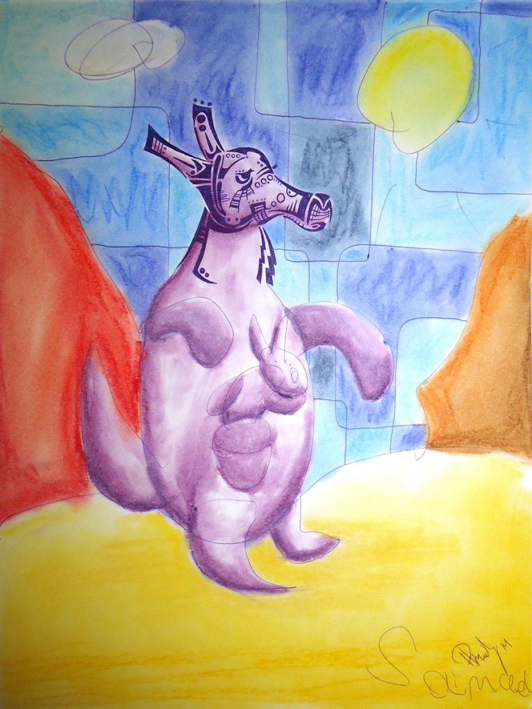 Roo - Ink & Pastels