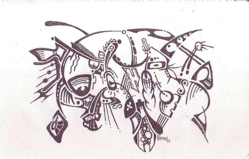 Tcha! - Ink & Pastels