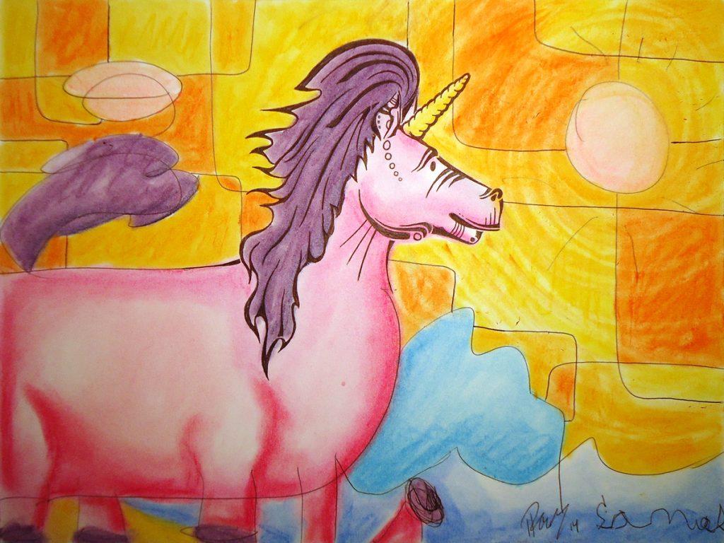 Unicorn - Ink & Pastels