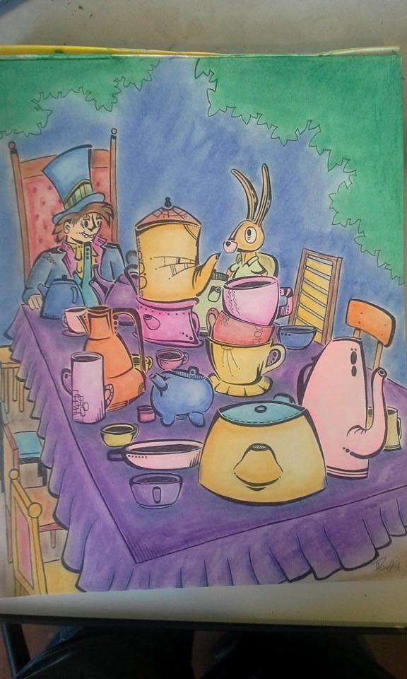 Happy un-birthday Alice - Ink and pastels