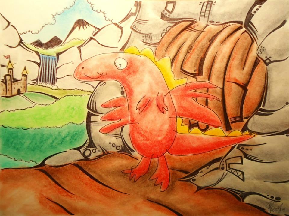 Little dragon - Big world - Ink & Pastels