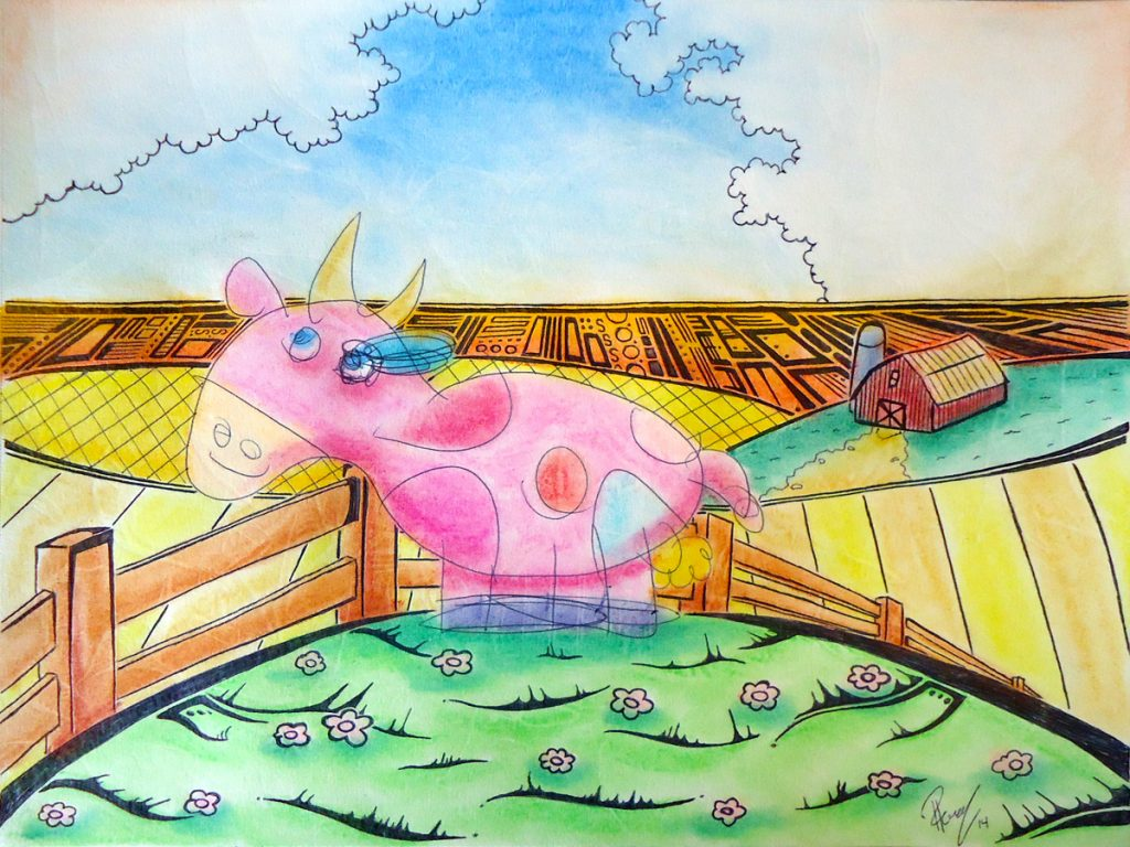 Pinky - Ink & pastel - Sold