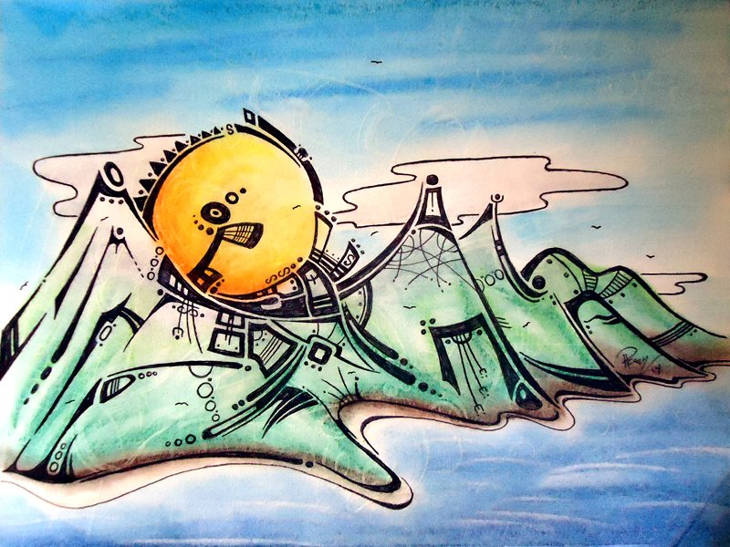 Oasis - Ink & Pastels