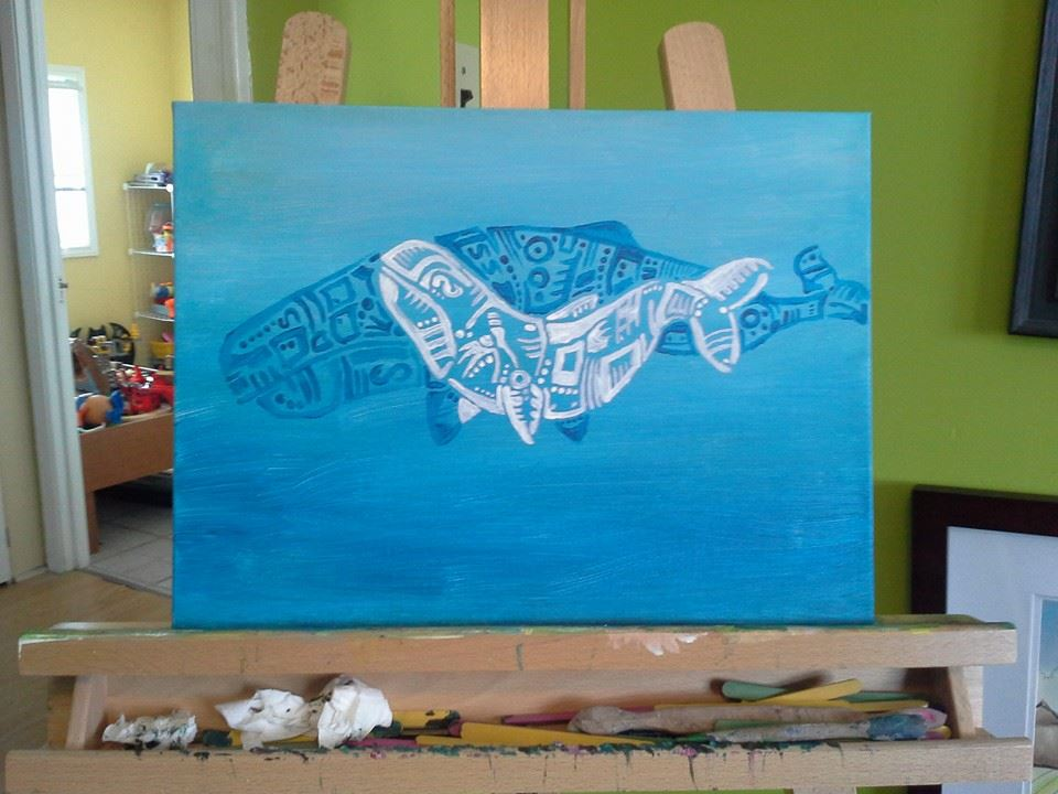 Whales - Acrylic on canvas - sold