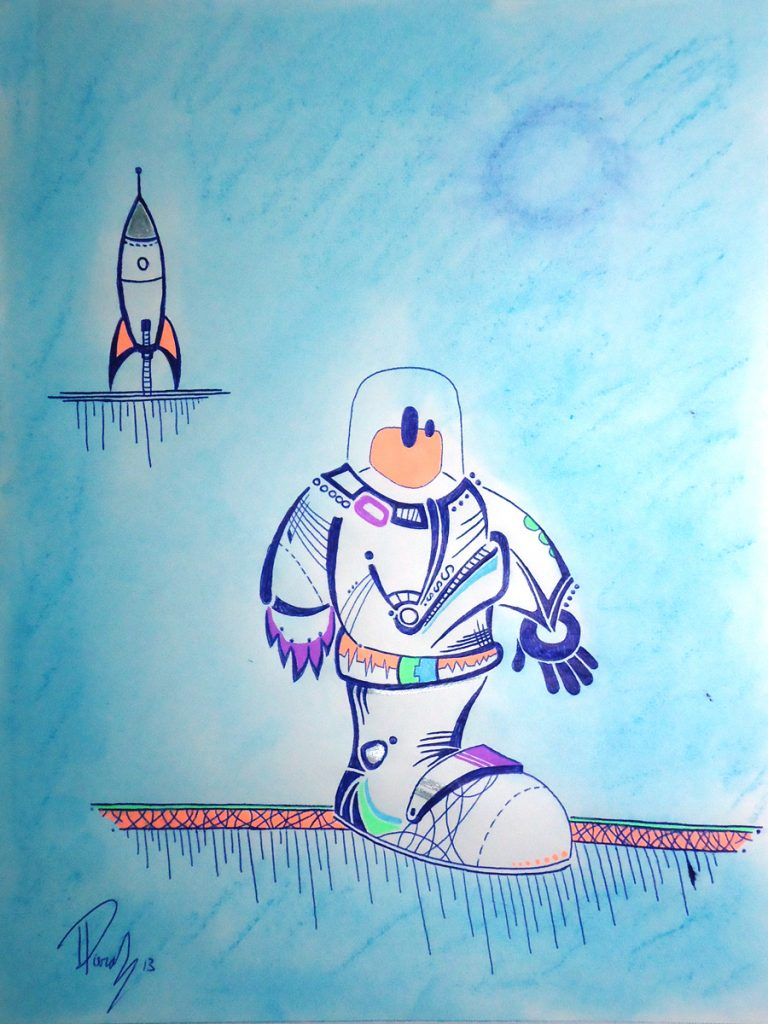 Major Tom - Ink & pastels