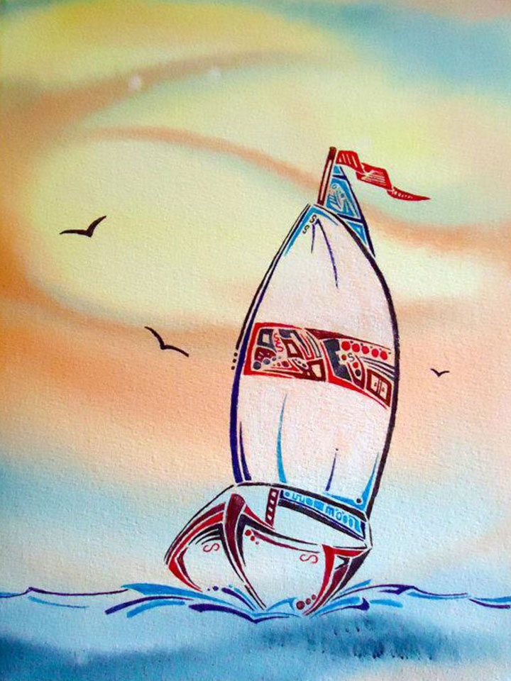 Sailing - watercolors and ink - sold